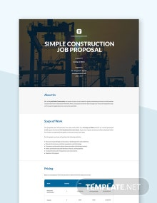 Free Simple Construction Job Proposal Template