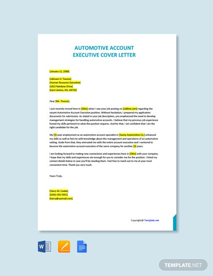 Free Automotive Account Executive Cover Letter Template