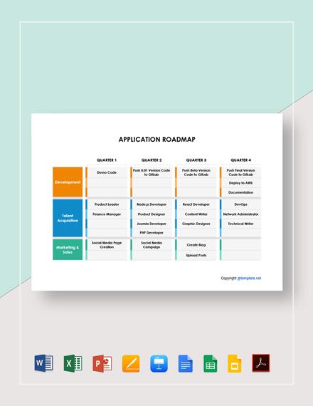 Free Editable Application Roadmap Template
