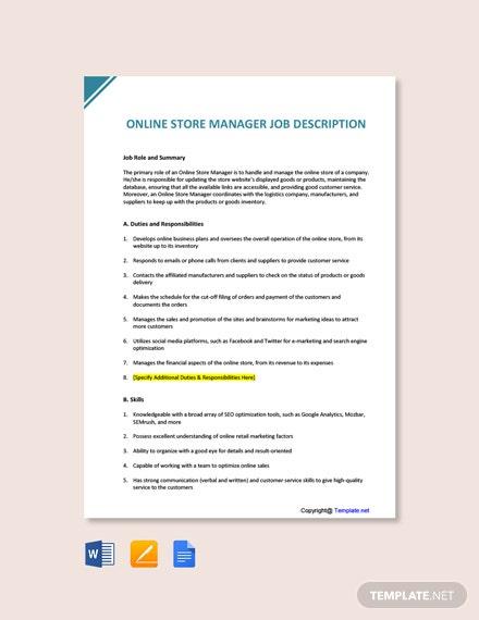 Free Online Store Manager Job Ad and Description Template