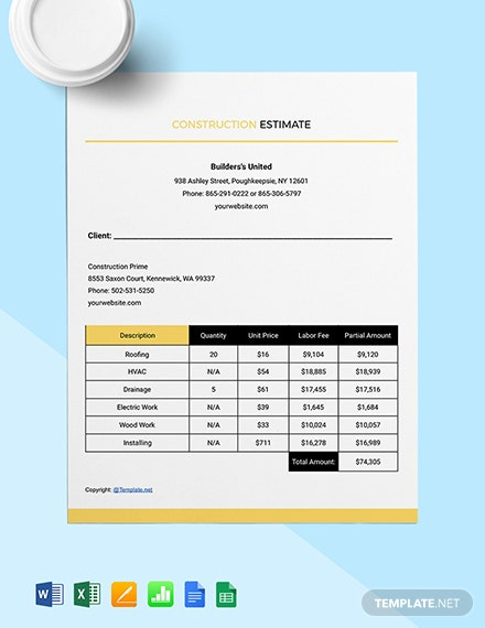 Free Custom Construction Estimate Template