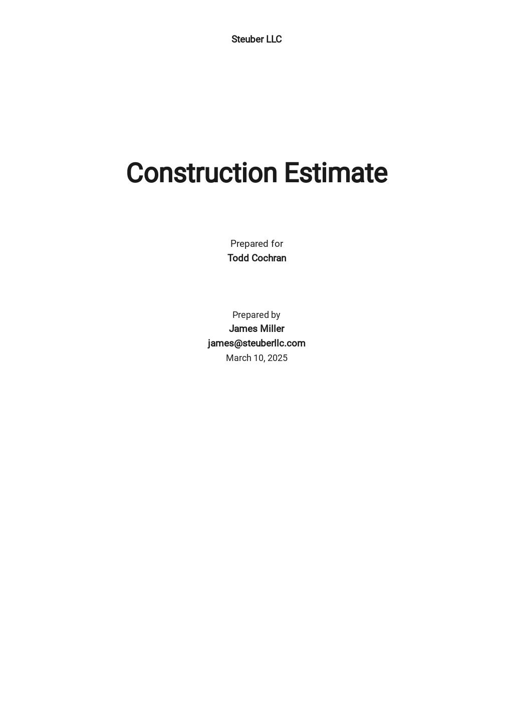Custom Construction Estimate Template