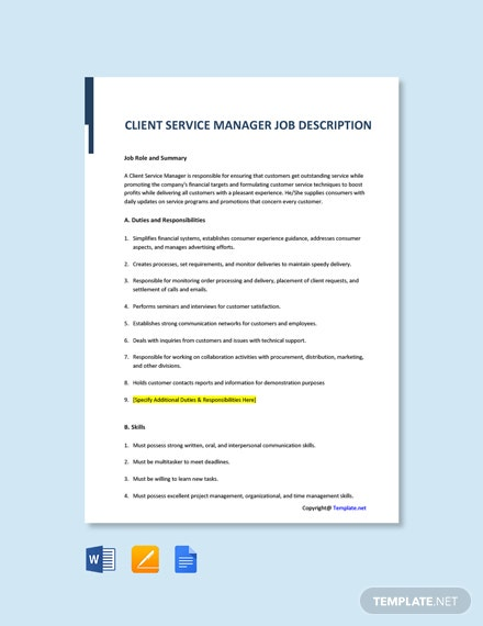 Client Service Manager Template Job Description