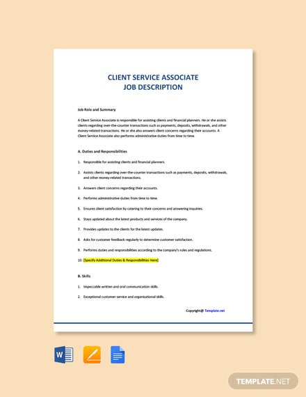Free Client Service Associate Job Description Template