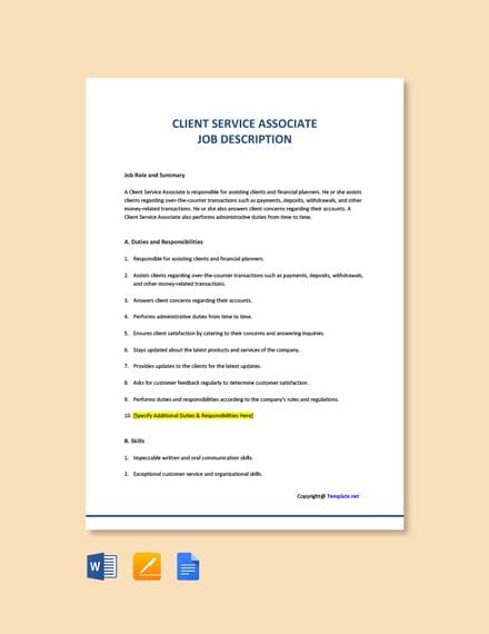 Client Service Associate Job Description Template