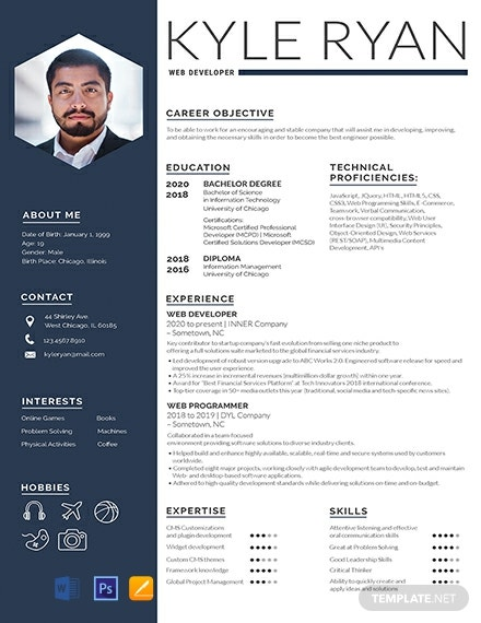 Free Web Developer Resume Template Word Psd Indesign