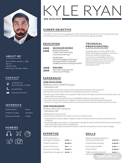 Free Web Developer Resume Template Download 200 Resume Templates