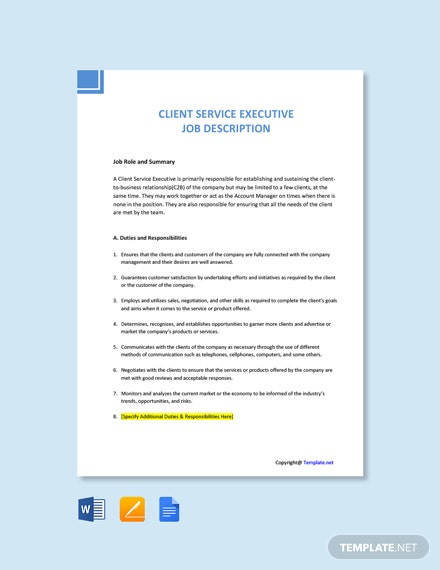 Free Client Service Executive Job Ad and Description Template