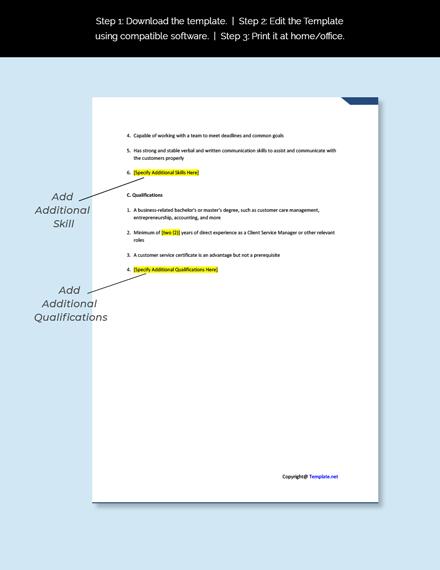 Client Services Manager Template Job Description Template