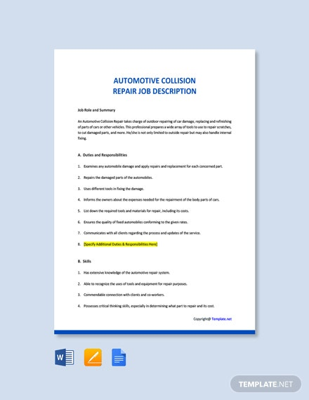 Free Automotive Collision Repair Job Description Template