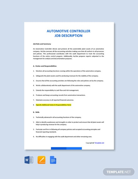 Free Automotive Controller Job Ad and Description Template
