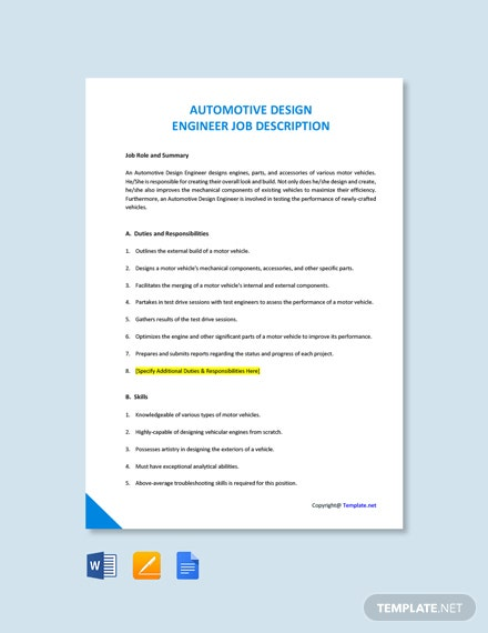 Free Automotive Design Engineer Job Description Word Google Doc Apple Mac Pages Template Net