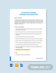 Free Automotive General Manager Job Ad and Description Template