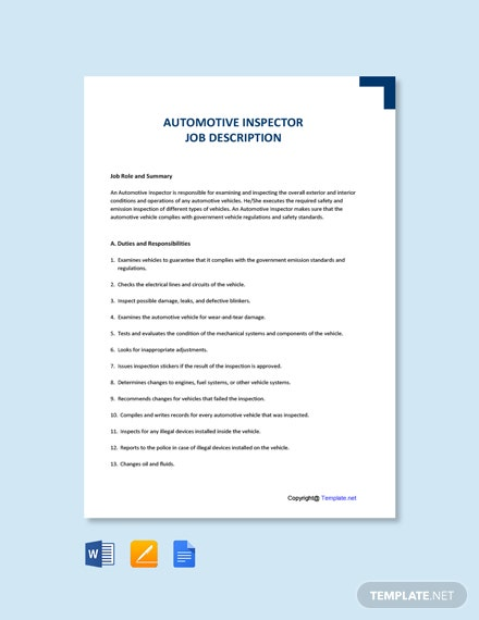 Free Automotive Inspector Job Ad and Description Template