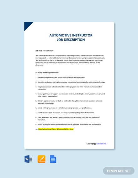 Free Automotive Instructor Job Ad and Description Template