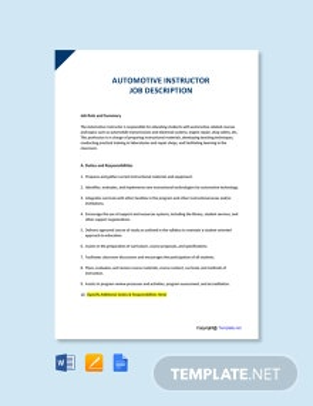 Free Automotive Instructor Job Ad and Description Template