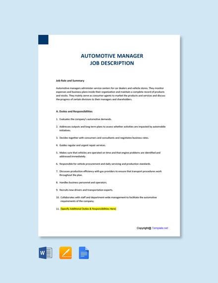 Free Automotive Manager Job Description Template