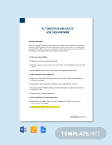 Free Automotive Manager Job Ad and Description Template