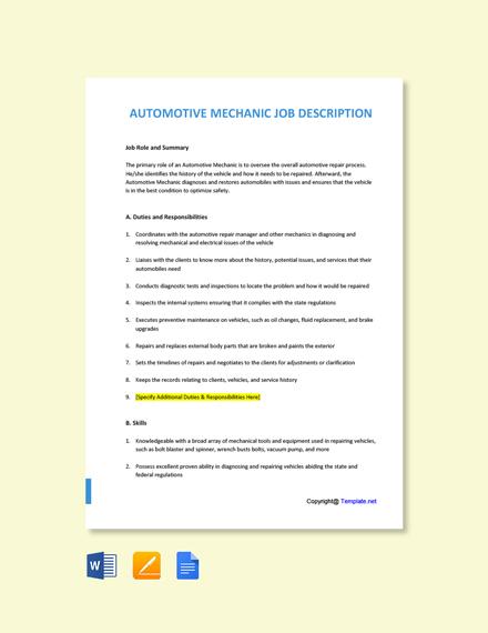 Free Automotive Mechanic Job Ad and Description Template