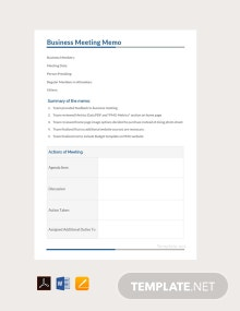 Free Business Meeting Memo Template