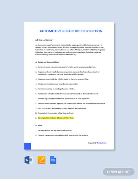 Free Automotive Repair Job Description Template