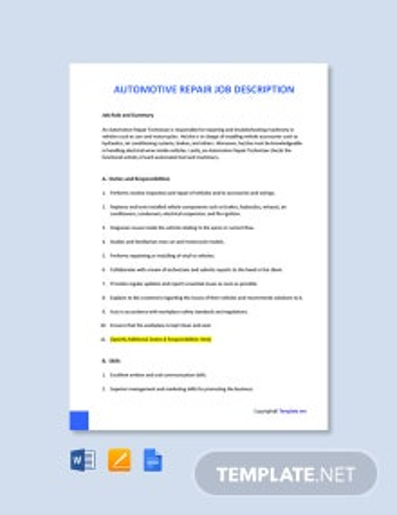 Free Automotive Repair Job Ad and Description Template