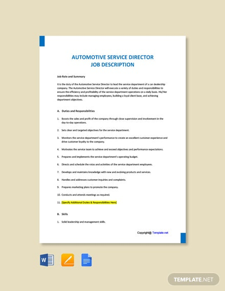 Free Automotive Service Director Job Ad and Description Template