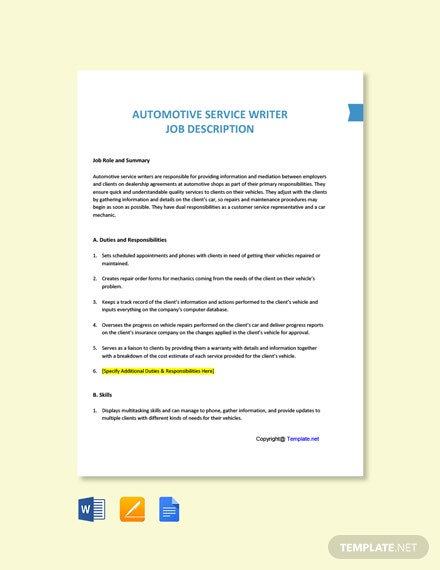 Free Automotive Service Writer Job Ad and Description Template