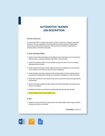 Free Automotive Trainer Job Ad and Description Template