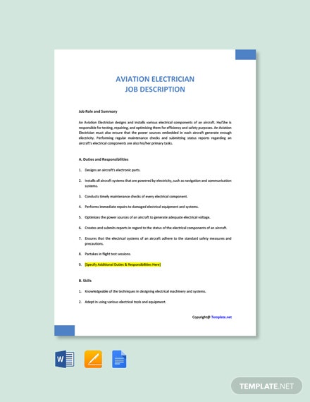 Free Aviation Electrician Job Description Template