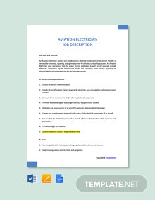Free Aviation Electrician Job Ad and Description Template