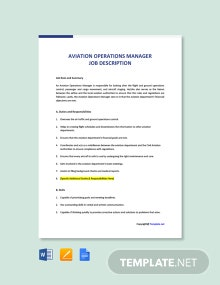 Free Aviation Operations Manager Job Description Template