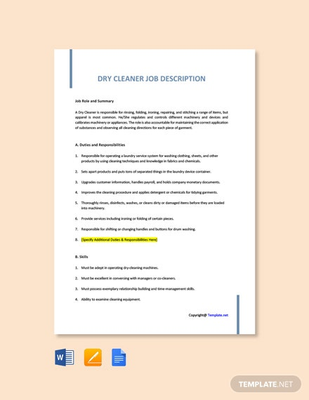 Free Dry Cleaner Job Description Template
