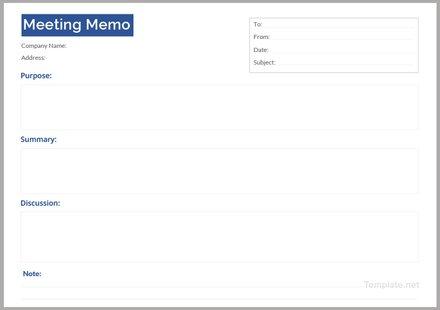 Free Meeting Memo Example