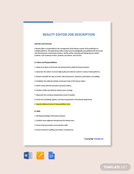 Free Beauty Editor Job Ad and Description Template