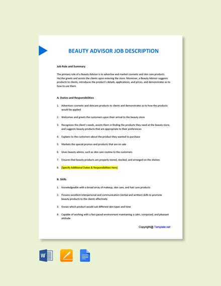 Free Beauty Advisor Job Description Template