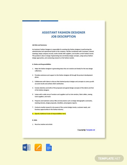Free Assistant Fashion Designer Job Description Template