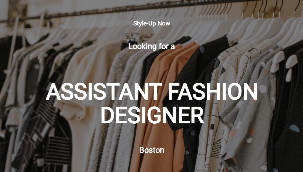 Assistant Fashion Designer Job Description Template
