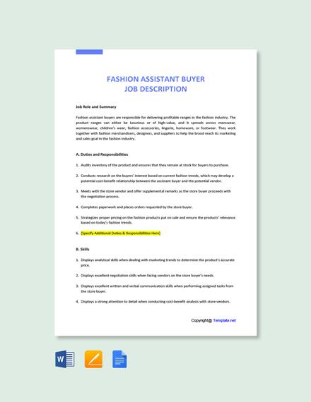 Free Fashion Assistant Buyer Job Description Template