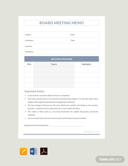 Free Sample Board Meeting Memo Template