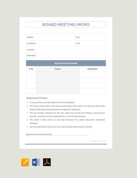 Free Sample Board Meeting Memo Template