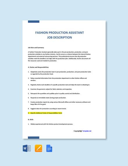 Free Fashion Production Assistant Job Description Template