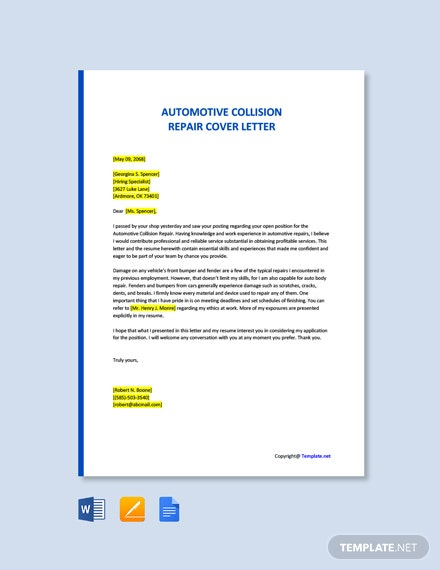 Free Automotive Collision Repair Cover Letter Template