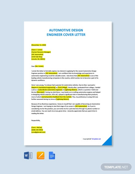 Free Automotive Design Engineer Cover Letter Template