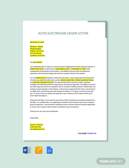 Free Auto Electrician Cover Letter Template