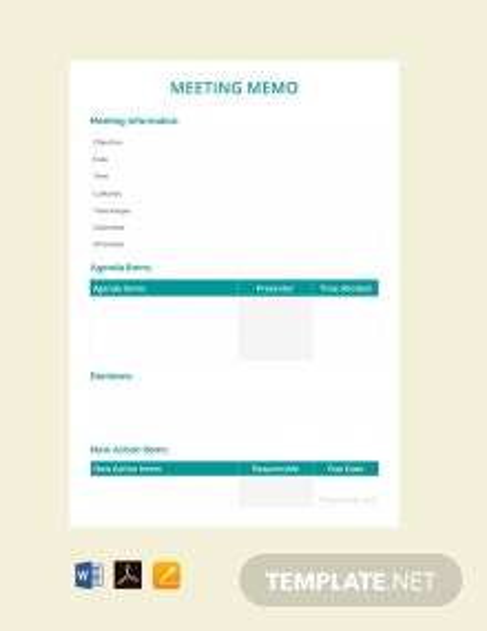 Free Sample Meeting Memo Template