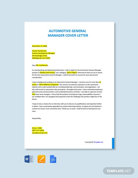 Free Automotive General Manager Cover Letter Template