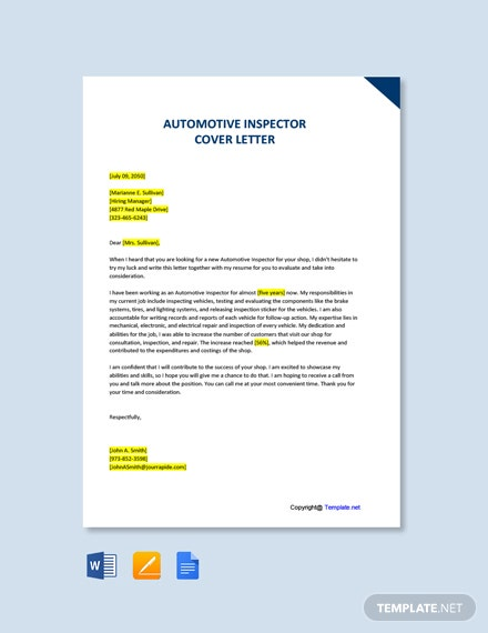 Free Automotive Inspector Cover Letter Template
