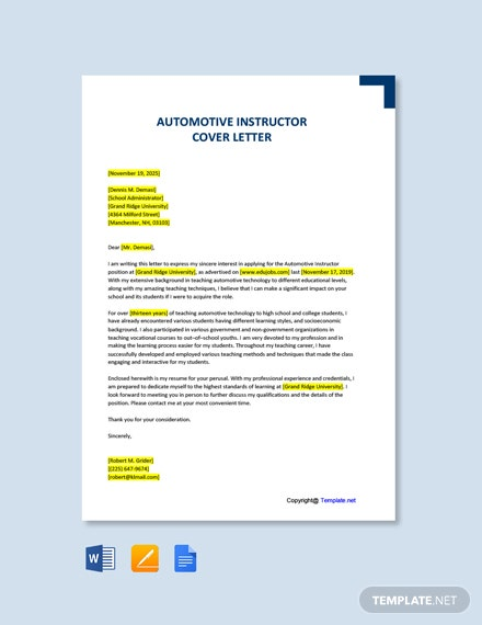 Free Automotive Instructor Cover Letter Template