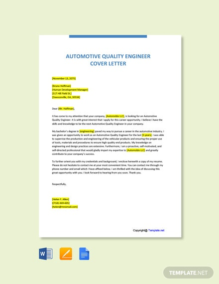 Free Automotive Quality Engineer Cover Letter Template